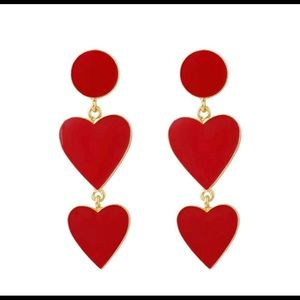 Long Red and Gold Heart Earrings